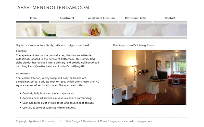 Midas designs portfolio for Apartment web design